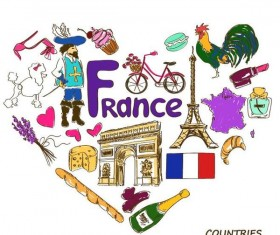 France country elements with heart shape vector