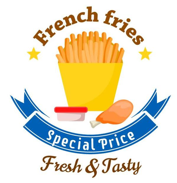 French fries label vector material