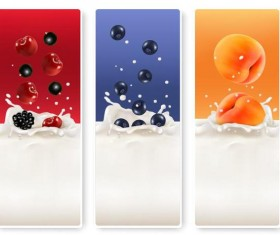 Fresh fruit with milk banner design vector 01
