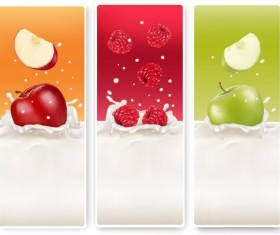 Fresh fruit with milk banner design vector 02