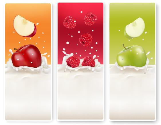 Fresh fruit with milk banner design vector 02