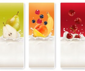 Fresh fruit with milk banner design vector 03