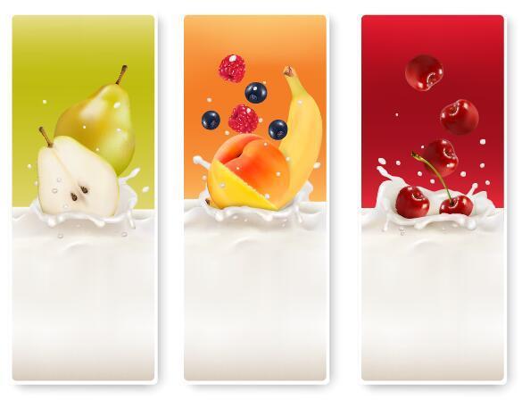 Fresh fruit with milk banner design vector 03