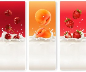 Fresh fruit with milk banner design vector 04