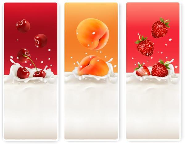 Fresh fruit with milk banner design vector 04