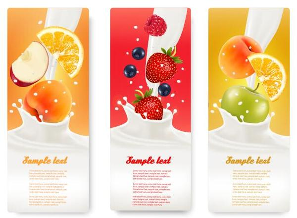 Fresh fruit with milk banner design vector 05
