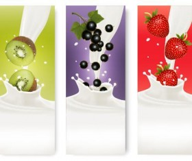 Fresh fruit with milk banner design vector 06
