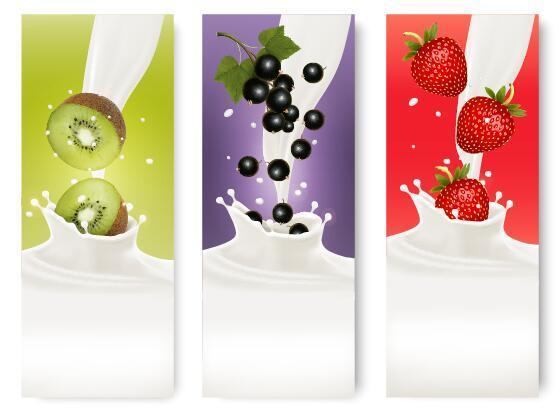 Fresh fruit with milk banner design vector 06