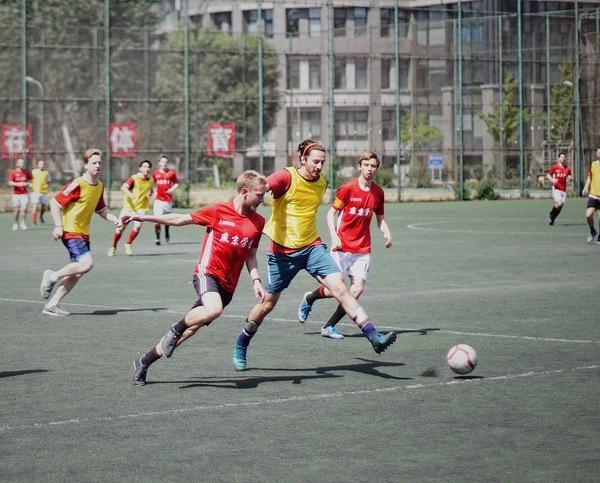Friendship football match Stock Photo