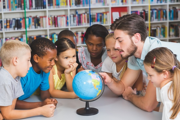 Geography class students Stock Photo