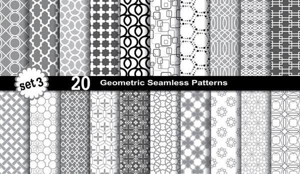 Geometric seamless pattern black with white vector