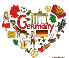 Germany country elements with heart shape vector