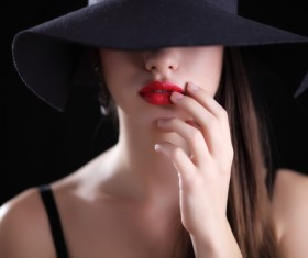 Girl in a black hat Stock Photo 01