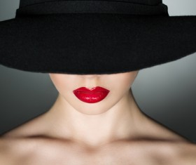 Girl in a black hat Stock Photo 02