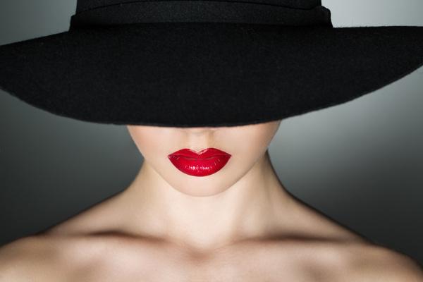 Girl in a black hat Stock Photo 02