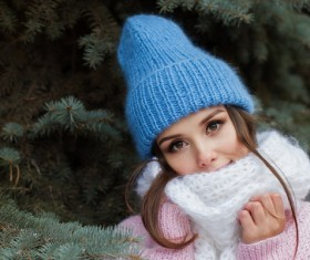 Girl wearing knit hat and knit scarf Stock Photo