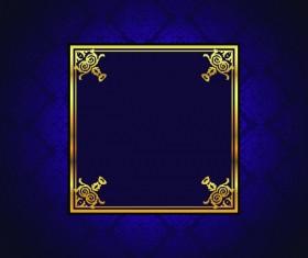 Golden frame with vintage purple background vector