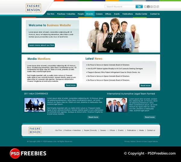 Green Corporate Website PSD Template