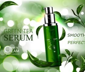 Green tea cosmetic adv poster design vector 01