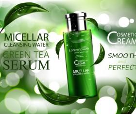 Green tea cosmetic adv poster design vector 02