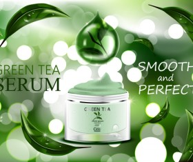 Green tea cosmetic adv poster design vector 03