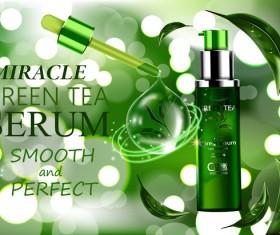 Green tea cosmetic adv poster design vector 04