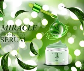 Green tea cosmetic adv poster design vector 05