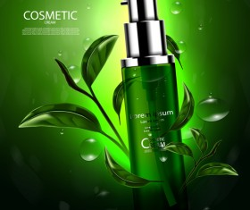 Green tea cosmetic cream advertising poster template vector 01