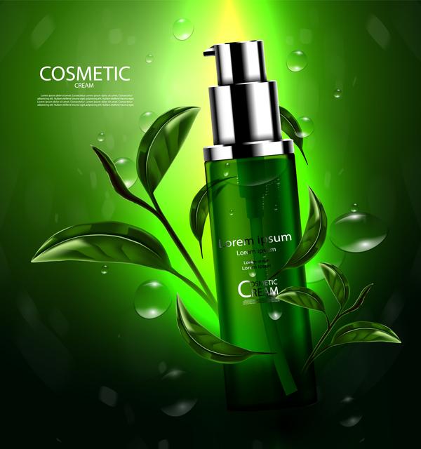 Green tea cosmetic cream advertising poster template vector 01