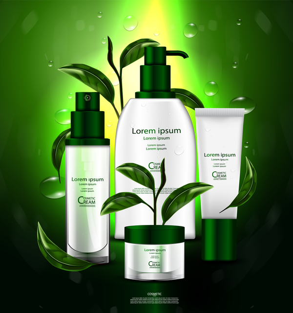 Green tea cosmetic cream advertising poster template vector 03