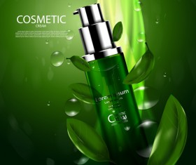 Green tea cosmetic cream advertising poster template vector 04
