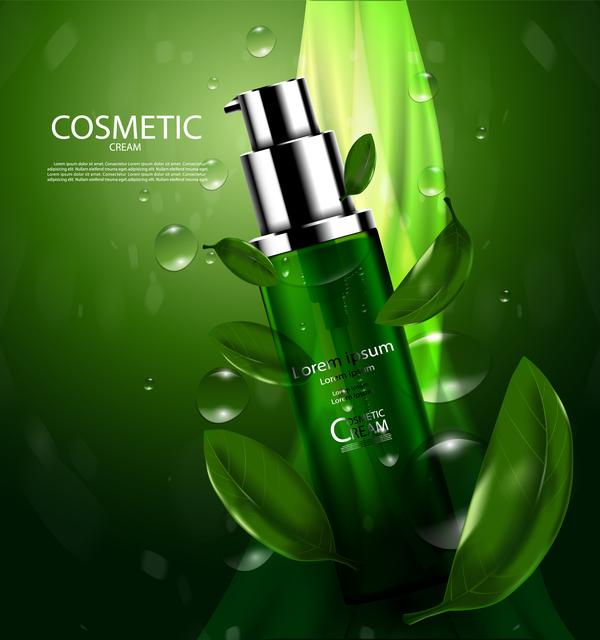 Green tea cosmetic cream advertising poster template vector 04