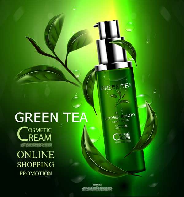 Green tea cosmetic cream advertising poster template vector 09