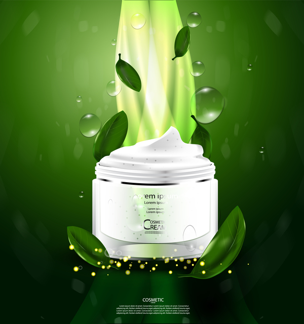 Green tea cosmetic cream advertising poster template vector 10