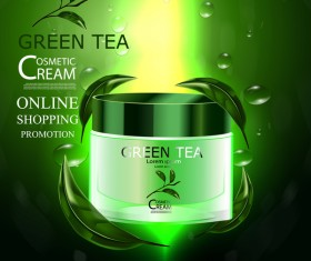 Green tea cosmetic cream advertising poster template vector 11