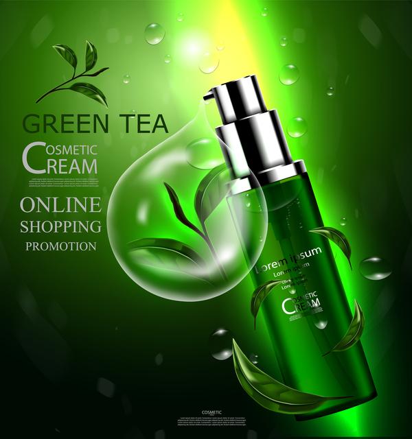Green tea cosmetic cream advertising poster template vector 14