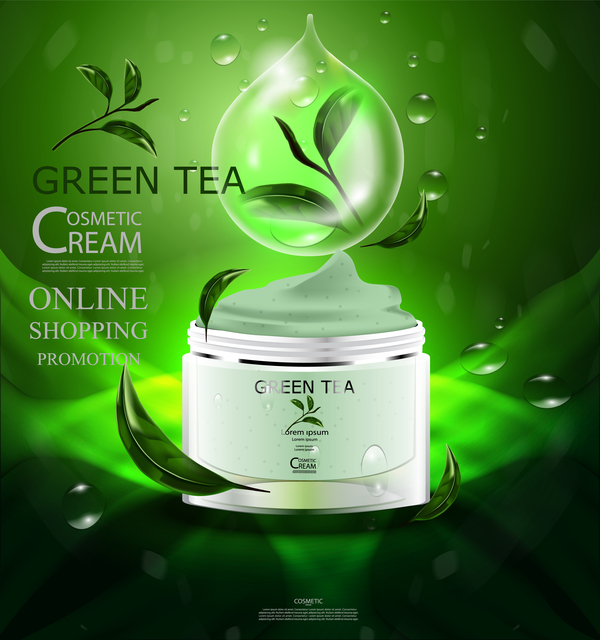 Green tea cosmetic cream advertising poster template vector 15