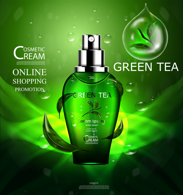Green tea cosmetic cream advertising poster template vector 16
