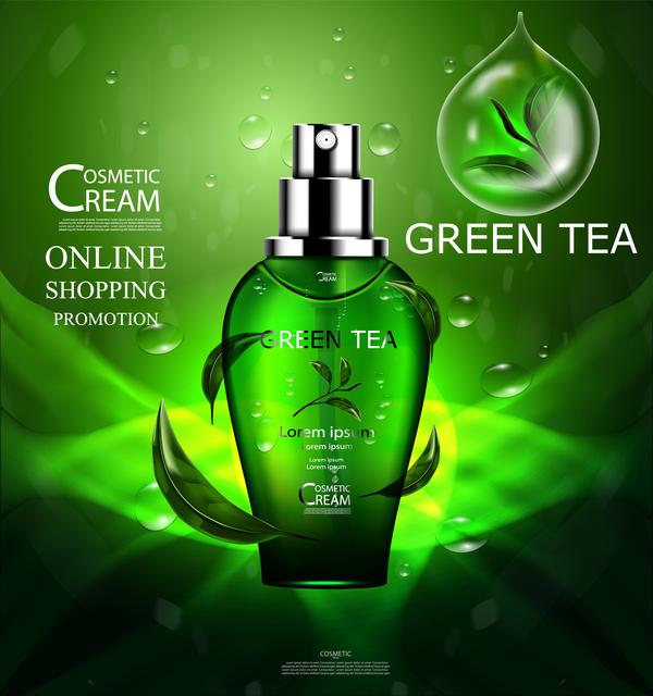 Green tea cosmetic cream advertising poster template vector 16