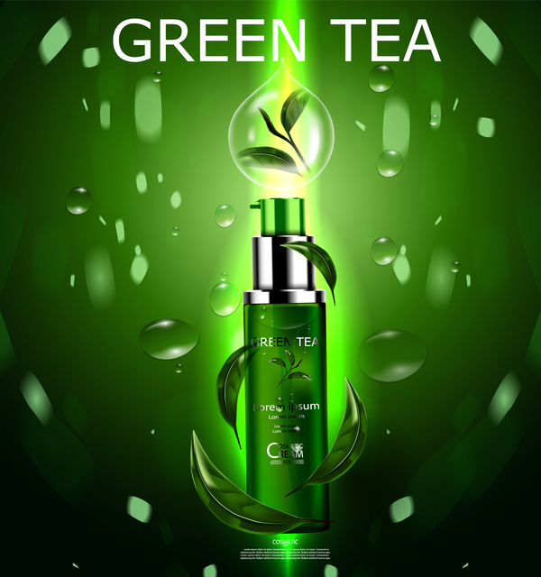 Green tea cosmetic cream advertising poster template vector 17