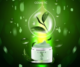 Green tea cosmetic cream advertising poster template vector 18