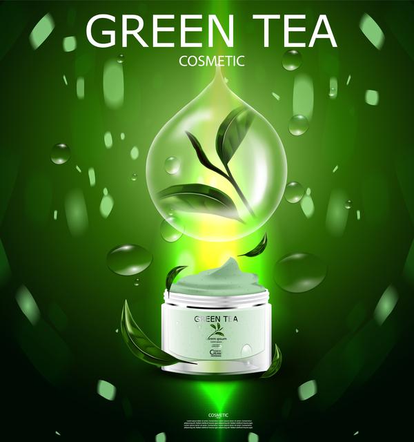 Green tea cosmetic cream advertising poster template vector 18