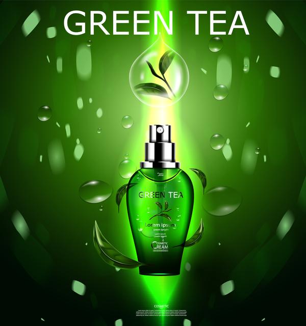 Green tea cosmetic cream advertising poster template vector 19