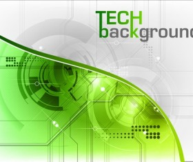 Green tech background with abstract elements vector