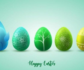 Green with yellow easter egg illustration vector