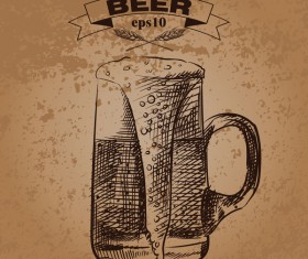 Grunge background and hand drawing beer vectors 02