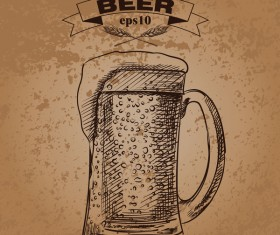 Grunge background and hand drawing beer vectors 03