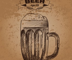 Grunge background and hand drawing beer vectors 04