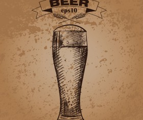 Grunge background and hand drawing beer vectors 05