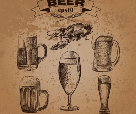 Grunge background and hand drawing beer vectors 06